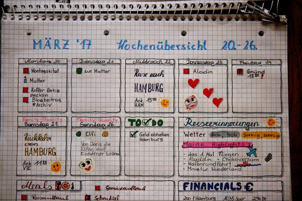 Bullet Journal Wochenübersicht Hamburg