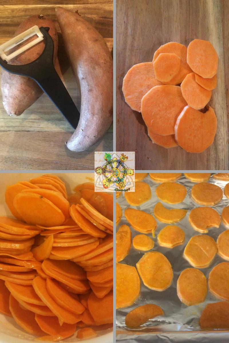 süßkartoffelchips arbeitsschritte