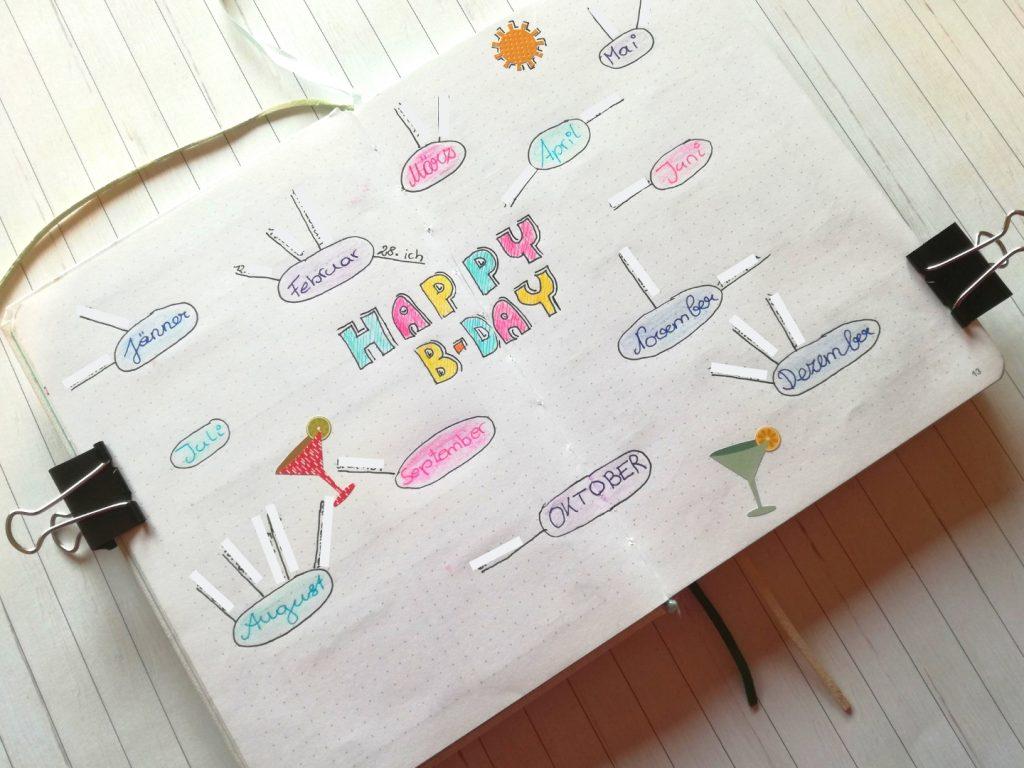 Bullet Journal Ideen Geburtstagskalender