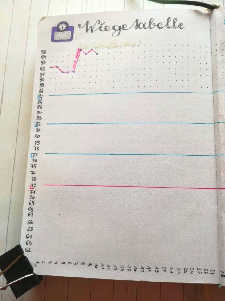 Bullet Journal Ideen Gewichtstabelle